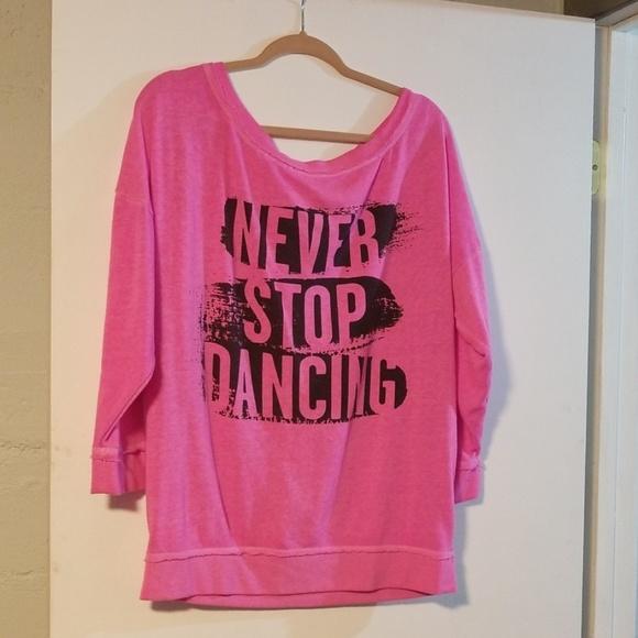 Zumba sz XS Small ~ New! Fuchsia Pink Dance 3//4 Long Sleeve Tee